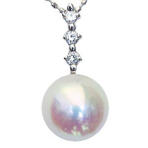 真珠:パール:ペンダントトップ(ヘッド):あこや本真珠:8.5mm:ピンクホワイト系:Pt900:プラチナ:ダイヤモンド:0.10ct