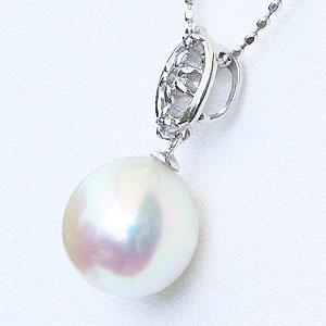 真珠:パール:ペンダントトップ(ヘッド):あこや本真珠:8.5mm:ピンクホワイト系:K18WG:ホワイトゴールド:ダイヤモンド:0.05ct
