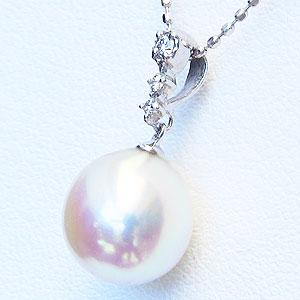 真珠:パール:ペンダントトップ(ヘッド):あこや本真珠:8.5mm:ピンクホワイト系:K18WG:ホワイトゴールド:ダイヤモンド:0.04ct