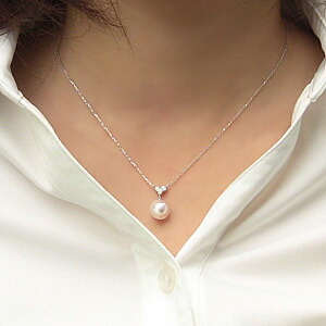 アコヤ本真珠:パール:ペンダント:ネックレス:あこや本真珠:9mm:ダイヤモンド:ホワイトゴールド:K18WG:18金
