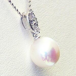 パール:ペンダントトップ:真珠:あこや本真珠:ピンクホワイト系:9mm:アコヤ:ダイヤモンド:K18WG:ホワイトゴールド