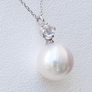 あこや本真珠:ペンダントネックレス:パール:8.0mm:ホワイト系:K18WG:ホワイトゴールド:6月誕生石:ムーンストーン