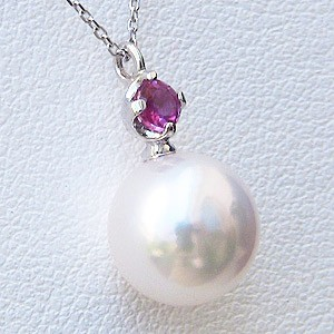 あこや本真珠:ペンダントネックレス:パール:8.0mm:ホワイト系:K18WG:ホワイトゴールド:7月誕生石:ルビー