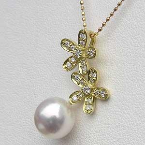 ペンダント あこや真珠パール K18 ゴールド 花 ネックレス ダイヤモンド ジュエリー