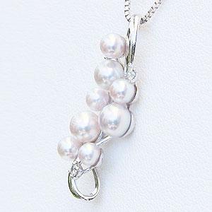 パール:ペンダント:ネックレス:真珠:あこや本真珠:ピンクホワイト系:3mm:4mmベビーパール:ダイヤモンド:0.10ct:K18WG:ホワイトゴールド