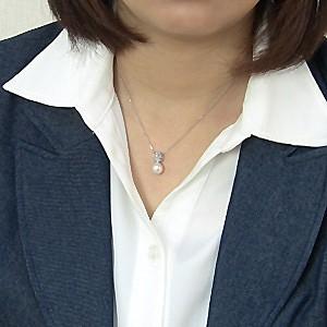 ネックレスペンダント あこや真珠パール ホワイトゴールドネックレス ダイヤモンド