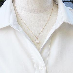 真珠 パール あこや本真珠 ペンダント K18PG ピンクゴールド 真珠の径8mm ピンクホワイト系 ダイヤモンド 1石 計0.01ct ペンダント