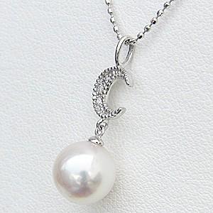 真珠パール ペンダント あこや本真珠 K18WG ホワイトゴールド 真珠の直径8mm ピンクホワイト系 ダイヤモンド 3石 0.02ct ペンダント 6月の誕生石