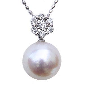 パール ペンダント ネックレス 本真珠 大珠9mm ダイヤモンド 0.12ct ホワイトゴールド