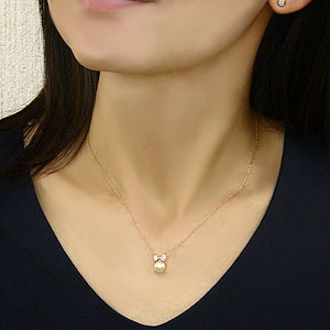 パール ペンダント リボン ネックレス 本真珠 7mm ダイヤモンド 0.10ct K18 ピンクゴールド