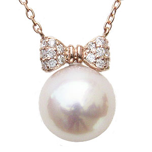 パール ペンダント リボン ネックレス 本真珠 大珠9mm ダイヤモンド 0.10ct K18 ピンクゴールド