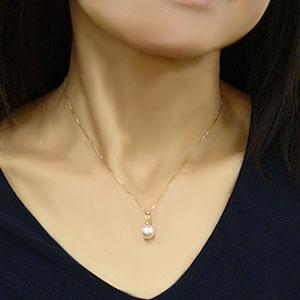 パール ペンダントトップ  本真珠 9mm ダイヤモンド 0.01ct K18WG ホワイトゴールド