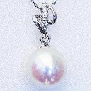 真珠 パール ペンダント あこや本真珠 PT900 プラチナ 真珠の直径 8mm アコヤ ダイヤモンド 5石 0.03ct ペンダント