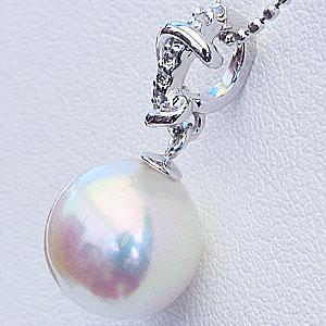 真珠:パール:ペンダントトップ(ヘッド):あこや本真珠:9mm:ピンクホワイト系:K18WG:ホワイトゴールド:ダイヤモンド:0.03ct