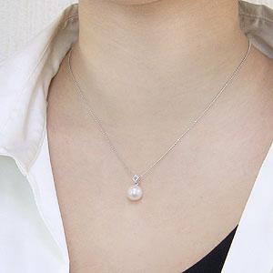 真珠:パール:ペンダントトップ(ヘッド):あこや本真珠:9mm:ピンクホワイト系:K18WG:ホワイトゴールド:ダイヤモンド:0.02ct