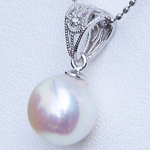 真珠:パール:ペンダントトップ(ヘッド):あこや本真珠:8.5mm:ピンクホワイト系:K18WG:ホワイトゴールド:ダイヤモンド:0.01ct
