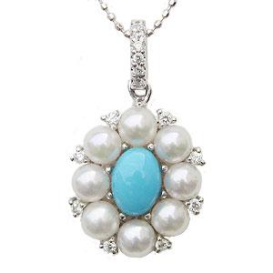 真珠 パール 6月誕生石  ペンダントトップ あこや本真珠 3.75mm ホワイトピンク系 ダイヤモンド14石 0.12ct トルコ石 花 ペンダント