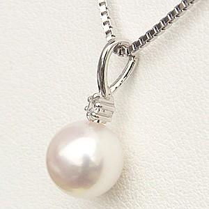 真珠 パール  ペンダント あこや本真珠 8mm ダイヤモンド 1石 0.03ct K18WG ホワイトゴールド ペンダント 6月誕生石