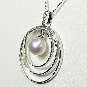 真珠 パール ペンダント あこや本真珠 PT900 プラチナ 真珠の直径8mm ピンクホワイト系 ダイヤモンド 4石 0.05ct ペンダント 6月の誕生石
