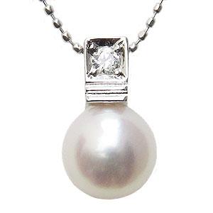 真珠 パール あこや本真珠 ネックレス ペンダント K18WG ホワイトゴールド 真珠の径8mm ピンクホワイト系 ダイヤモンド 1石 0.07ct ペンダントトップ