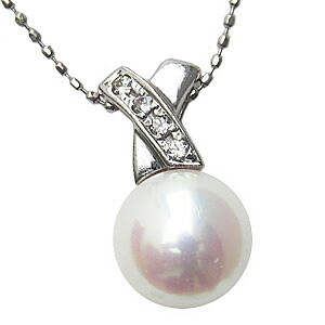 6月誕生石 ネックレス あこや真珠パール PT900プラチナ ネックレス ダイヤモンド