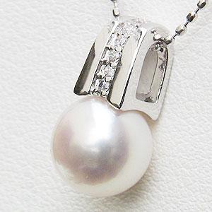 真珠 パール あこや本真珠 ネックレス ペンダント K18WG ホワイトゴールド 真珠の径8mm ピンクホワイト系 ダイヤモンド 6石 0.04ct ペンダントトップ