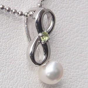 あこや本真珠:ペンダントトップ:パール:4~4.5mm:ピンクホワイト系:K18WG:ホワイトゴールド:8月誕生石:ペリドット