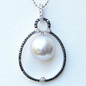真珠:パール:南洋白蝶真珠:10mm:ピンクホワイト系:ペンダントトップ:K18WG:ホワイトゴールド:ダイヤモンド:ブラックダイヤモンド:アンティーク