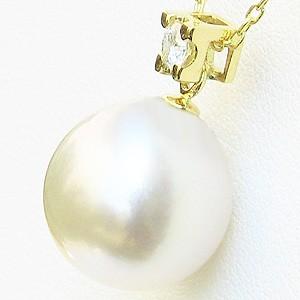真珠:南洋白蝶真珠:ピンクホワイト系:12mm:パール:ペンダントトップ:K18:18金:ゴールド:ダイヤモンド