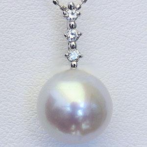 真珠:パール:南洋白蝶真珠:10mm:ピンクホワイト系:ペンダントトップ:ホワイトゴールド:ダイヤモンド:0.10ct