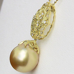 真珠:パール:南洋白蝶真珠:ゴールデンパール:12mm:ゴールド系:ペンダントトップ:K18:ゴールド:ダイヤモンド:0.05ct