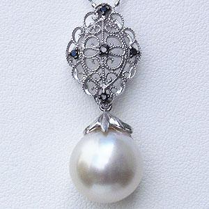 真珠:パール:南洋白蝶真珠:12mm:ピンクホワイト系:ペンダントトップ:K18WG:ホワイトゴールド:ブラックダイヤモンド:0.05ct