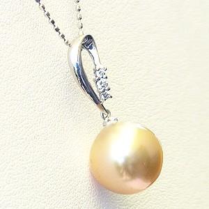 真珠:ゴールデンパール:南洋白蝶真珠:10mm:ゴールド系:ペンダントトップ:K18WG:ホワイトゴールド:ダイヤモンド:0.04ct