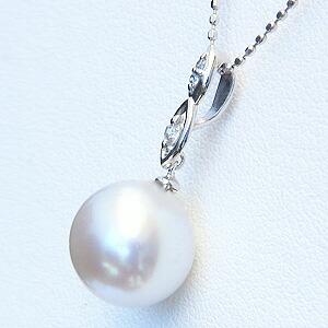 真珠:ペンダントトップ:パール:南洋白蝶真珠:ピンクホワイト系:10mm:南洋:ダイヤモンド:0.02ct:K18WG:ホワイトゴールド