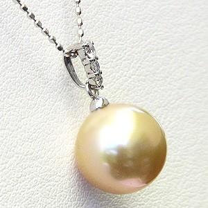 真珠:ゴールデンパール:南洋白蝶真珠:10mm:ゴールド系:ペンダントトップ:K18WG:ホワイトゴールド:ダイヤモンド:0.06ct