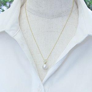 真珠:パール:南洋白蝶真珠:10mm:ピンクホワイト系:パール:ペンダントトップ:K18:ゴールド:ダイヤモンド:0.25ct