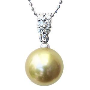 ネックレスペンダント 南洋真珠パール PT900プラチナ ダイヤモンド