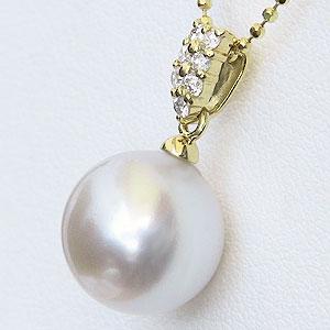 真珠:パール:ペンダントトップ:ピンクホワイトパール:南洋白蝶真珠:ピンクホワイト系:10mm:ダイヤモンド:0.10ct:K18:ゴールド:18金