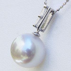 真珠:ペンダントトップ:パール:南洋白蝶真珠:ピンクホワイト系:10mm:ダイヤモンド:0.08ct:K18WG:ホワイトゴールド