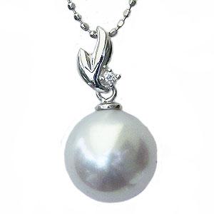真珠:ペンダントトップ:パール:南洋白蝶真珠:ピンクホワイト系:10mm:ダイヤモンド:0.01ct:K18WG:ホワイトゴールド