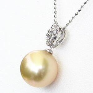 真珠:ペンダントトップ:パール:南洋白蝶真珠:ゴールド系:10mm:ダイヤモンド:0.10ct:K18WG:ホワイトゴールド