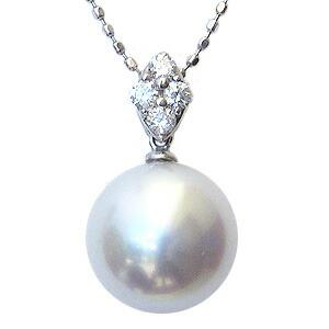 真珠:ペンダントトップ:パール:南洋白蝶真珠:ピンクホワイト系:10mm:南洋:ダイヤモンド:0.11ct:K18WG:ホワイトゴールド