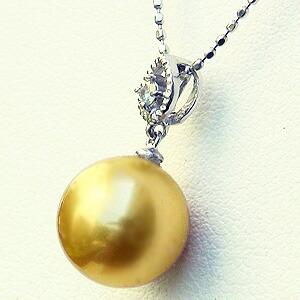 真珠:ペンダントトップ:パール:南洋白蝶真珠:ゴールド系:10mm:ダイヤモンド:0.03ct:K18WG:ホワイトゴールド
