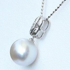 真珠:ペンダントトップ:パール:南洋白蝶真珠:ピンクホワイト系:10mm:南洋:ダイヤモンド:0.01ct:K18WG:ホワイトゴールド