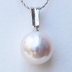 真珠:南洋白蝶真珠:パール:14mm:ペンダント:ネックレス:ダイヤモンド:0.14ct:K18WG:ホワイトゴールド