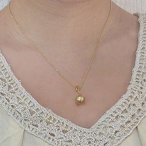 真珠:パール:ペンダント:ネックレス:南洋白蝶真珠:10mm:ゴールド系:ダイヤモンド:K18:ゴールド:チェーン付