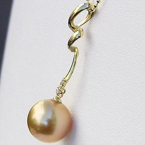 真珠:パール:ペンダントトップ(ヘッド):南洋白蝶真珠:10mm:ゴールド系:ダイヤモンド:K18:ゴールド:チェーン付