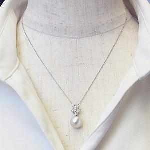 真珠:ペンダントトップ:パール:南洋白蝶真珠:ピンクホワイト系:10mm:南洋:ダイヤモンド:0.08ct:K18WG:ホワイトゴールド
