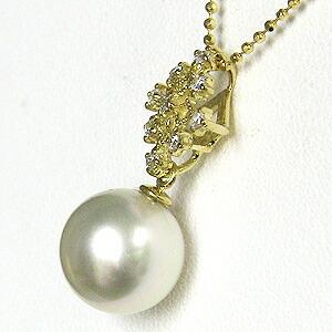 南洋白蝶真珠:ペンダントトップ:約10mm:ピンクホワイト系:K18