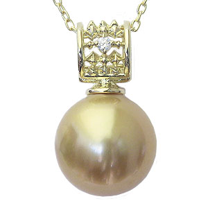 パール 真珠 南洋白蝶真珠 ペンダント K18 ゴールド 真珠の径11mm  ゴールド系 ダイヤモンド 1石 計0.02ct ペンダント
